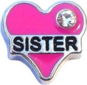 Pink Heart Sister Floating Charm