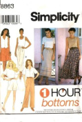 Simplicity Sewing Pattern 8863 1 Hour Bottoms, AA