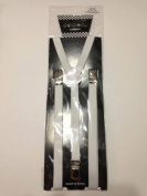 Skinny Thin Slim Suspenders Unisex w/ Elastic Y-Shape Adjustable- White