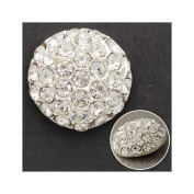 18mm Rhinestone Dome Button with Shank, Crystal/Silver by each