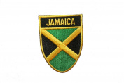 Jamaica Country Flag OVAL SHIELD Embroidered Iron on Patch Crest Badge 5.1cm X 6.4cm .. New