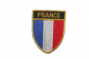 France Country Flag OVAL SHIELD Embroidered Iron on Patch Crest Badge 5.1cm X 6.4cm .. New