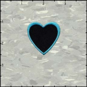 Heart Shape Embroidered Iron On Applique Patch FD - Blue