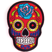Red Tracery Mexican Sugar Skull Awesome Cool Embroidered Iron On Patches WITH.