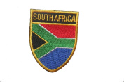 South Africa Country Flag OVAL SHIELD Embroidered Iron on Patch Crest Badge 5.1cm X 6.4cm .. New