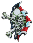 Skull and Crossbones American Flag Embroidered Iron On Biker Applique Patch