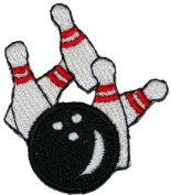 Bowling Ball & Pins Embroidered Iron on Patch Applique