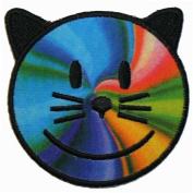 Rainbow Cat Kitten Kitty Happy Face Smiley Multi Colour Iron On Patch