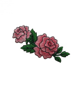 ID #6157 Pink Rose Blossom Pair Flower Love Iron On Embroidered Patch Applique