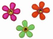 2.5cm Daisy Flower W/ Stone Jewel Iron On Applique Patches