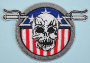 Skull American Flag Handlebar Embroidered Iron On biker Applique Patch