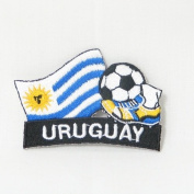 Uruguay Soccer Football Kick Country Flag Embroidered Iron on Patch Crest Badge ... 5.1cm X 4.4cm .. New