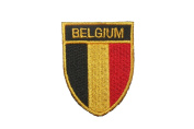 Belgium Country Flag OVAL SHIELD Embroidered Iron on Patch Crest Badge 5.1cm X 6.4cm .. New