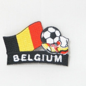Belgium Soccer Football Kick Country Flag Embroidered Iron on Patch Crest Badge ... 5.1cm X 4.4cm .. New