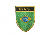 Brasil Brazil Country Flag OVAL SHIELD Embroidered Iron on Patch Crest Badge 5.1cm X 6.4cm .. New