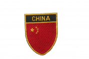 China Country Flag OVAL SHIELD Embroidered Iron on Patch Crest Badge 5.1cm X 6.4cm .. New