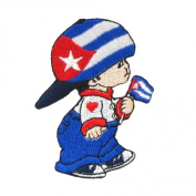 Cuba Little Boy Country Flag Embroidered Iron on Patch Crest Badge ... 7.6cm X 5.1cm .. New