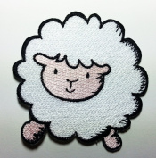 Cute White Sheep Patches 7x7.5 Cm Cartoon Sew/iron on Patch to Cloth, Jacket, Jean, Cap, T-shirt and Etc.