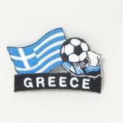 Greece Hellas Soccer Football Kick Country Flag Embroidered Iron on Patch Crest Badge ... 5.1cm X 4.4cm .. New