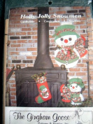 HOLLY JOLLY SNOWMEN SEWING PATTERN FROM THE GINGHAM GOOSE - CARDHOLDER, centrepiece AND STOCKING