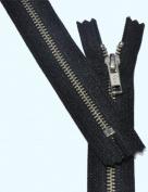 30cm Zipper YKK #5 Nickel Exposed Zipper ~ Closed End ~ 580 Black