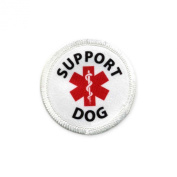 Service SUPPORT Dog 5.1cm White Rim Sew-on Patch