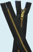 38cm Boot Zipper YKK #5 Boot Zipper ~ Brass Closed Bottom ~ YKK Colour 580 Black