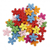 Colourful Flower Flatback Wooden Buttons Sewing Craft Scrapbooking 100pcs