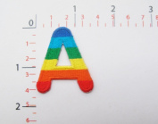 A Rainbow Letter Words Alphabet Iron on Patch a Embroidered Iron on Patch Sew on DIY Patches