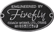 SERENITY Movie Engineered by FIREFLY Coach Works 9.5cm Wide Embroidered PATCH