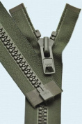 90cm Vislon Zipper ~ YKK #10 Moulded Extra-Heavy Separating - 567 Olive Green