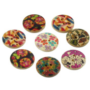 Estone 50pcs Mixed Flower Printing Pattern Wooden Sewing Buttons Scrapbookings Craft
