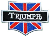 Triumph Motorcycles UK Flag Vintage Bikes Racing Team Jacket Embroidered Iron or Sew on Patch by Twinkle Lable
