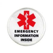 Emergency Information Inside Red Medical Alert 7.6cm Sew-on Patch
