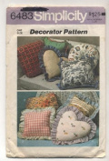 Vintage 1974 Simplicity Decorator Pattern Pillow Sewing Pattern # 6483
