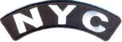 NYC NEW YORK USA City White on Black 10cm x 2.5cm Rocker Biker Vest Patch PAT-2751