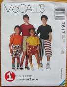 McCall's 7617 Sewing Pattern ~ Children's, Boy's, Girl's 1 Hour Pull-on Shorts in Three Lengths, Size Small 5-6