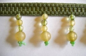 Sage Sea Glass Beaded Fringe 4.4cm BTY