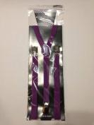Skinny Thin Slim Suspenders Unisex w/ Elastic Y-Shape Adjustable- Purple