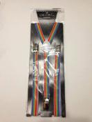 Skinny Thin Slim Suspenders Unisex w/ Elastic Y-Shape Adjustable- Rainbow Design