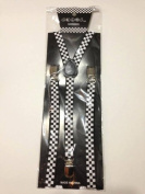 Skinny Thin Slim Suspenders Unisex w/ Elastic Y-Shape Adjustable- Black