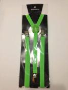 Skinny Thin Slim Suspenders Unisex w/ Elastic Y-Shape Adjustable- Green