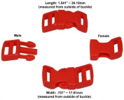 60cm - 1.3cm Red-Orange Economy Contoured Side Release Plastic Buckles