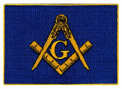 Masonic Flag Patch Embroidered Iron-On Freemason Lodge Emblem Mason G Square Compass Logo