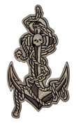 Novelty Iron On Patch - Tattoo Art Skull & Navy Anchor Applique