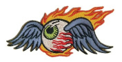 Artist Reed Flaming Winged Eyeball Embroidered iron on Patch