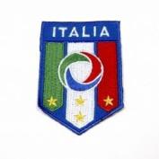 Italia 4 Star Fifa World Cup Iron on Medium Patch Crest Badge ... Italy 8.9cm X 6.4cm .. New