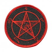 Pentagram Satan Goat Leviathan Embroidered Iron On Applique Patch FD - Red