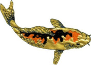 Koi Fish - Orange And Gold With Black Markings - Embroidered Iron On Or Sew On Patch