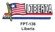 2.5cm - 1.3cm X 10cm - 1.3cm Flag Embroidered Patch liberia